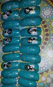 Other - Gel Cured 20pc Long Square Hand Painted Nails